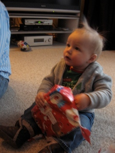 Callum opened a couple of presents, but then had to have a nap (CRANKY)